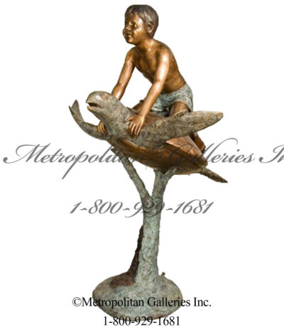SRB094102 Bronze Boy on Sea Turtle Fountain Sculpture Metropolitan Galleries Inc.