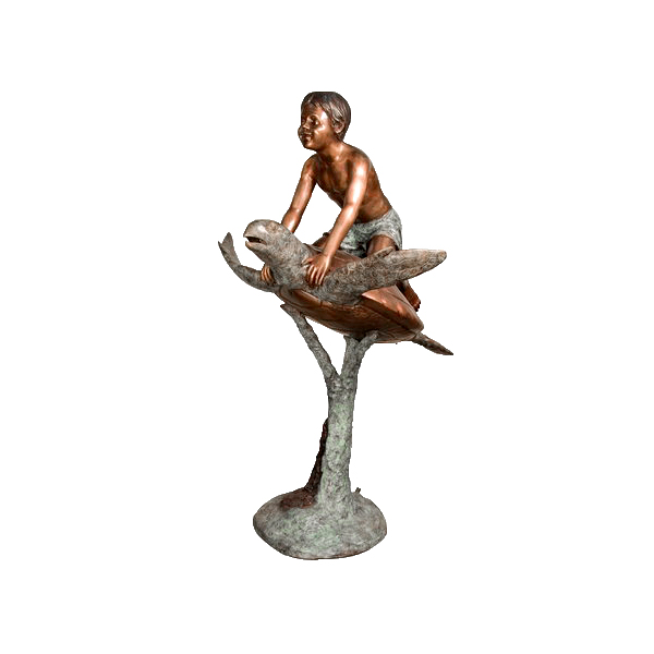 SRB094102 Bronze Boy on Sea Turtle Sculpture by Metropolitan Galleries Inc