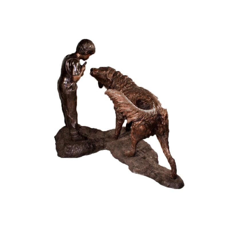 SRB10014 Bronze Boy with Golden Retriever Fountain Sculpture by Metropolitan Galleries Inc