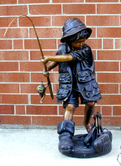 SRB10030 Bronze Boy Fishing Fountain Sculpture Metropolitan Galleries Inc.