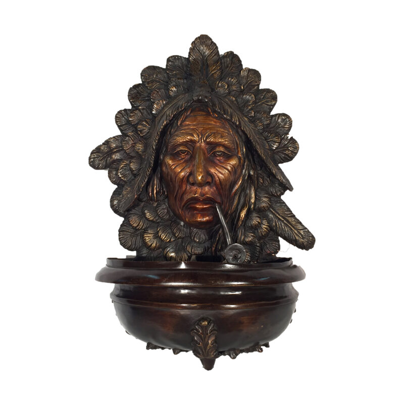 SRB10034 Bronze Indian with Pipe Wall Fountain Metropolitan Galleries Inc.