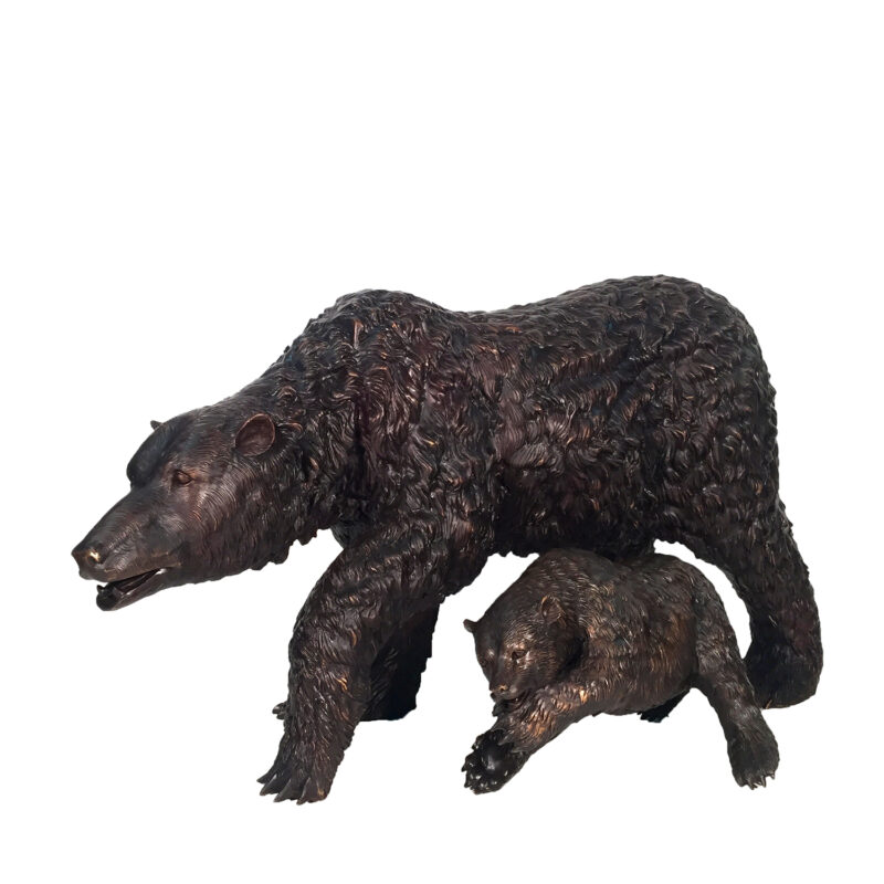 SRB10039 Bronze Bear & Cub Sculpture Metropolitan Galleries Inc
