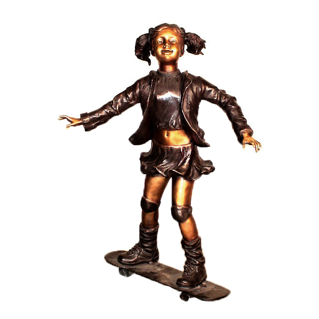 SRB10061 Bronze Girl on Skateboard Sculpture Metropolitan Galleries Inc.