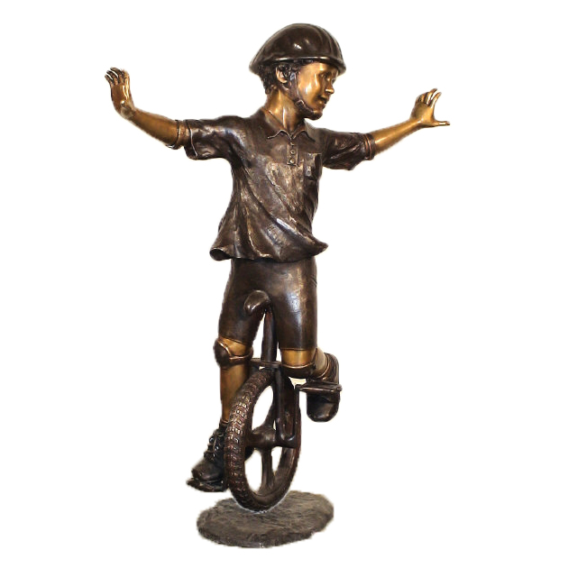 SRB10064 Bronze Boy on Unicycle Sculpture Metropolitan Galleries Inc.