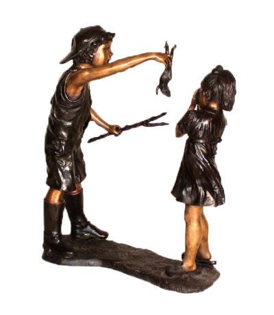 Bronze Taunting Little Sister Sculpture Metropolitan Galleries Inc.