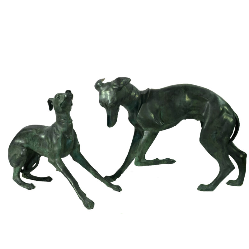 SRB15018-19 Bronze Whippet Dog Sculpture Set Metropolitan Galleries Inc.