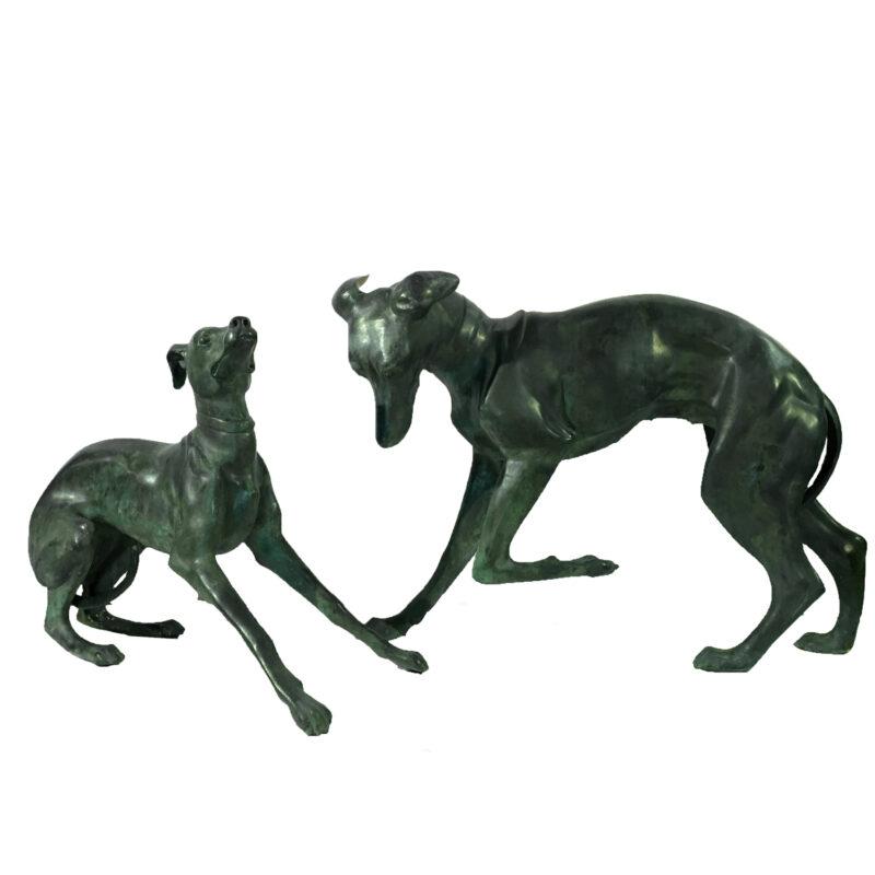 SRB15018-19 Bronze Whippet Dog Sculpture Set Metropolitan Galleries Inc.