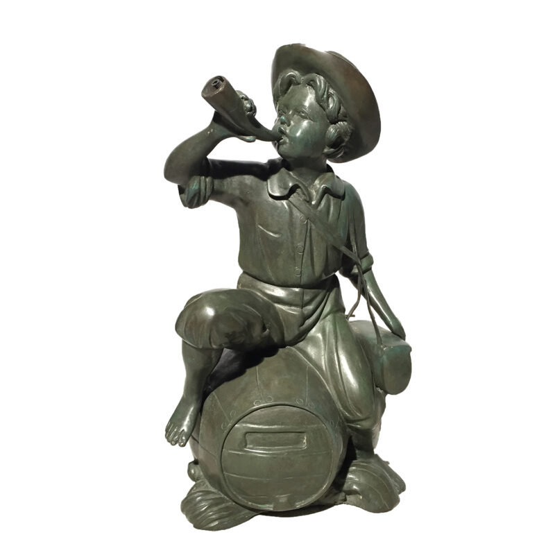 SRB20389 Bronze Boy on Barrel Blowing Horn Fountain Metropolitan Galleries Inc.