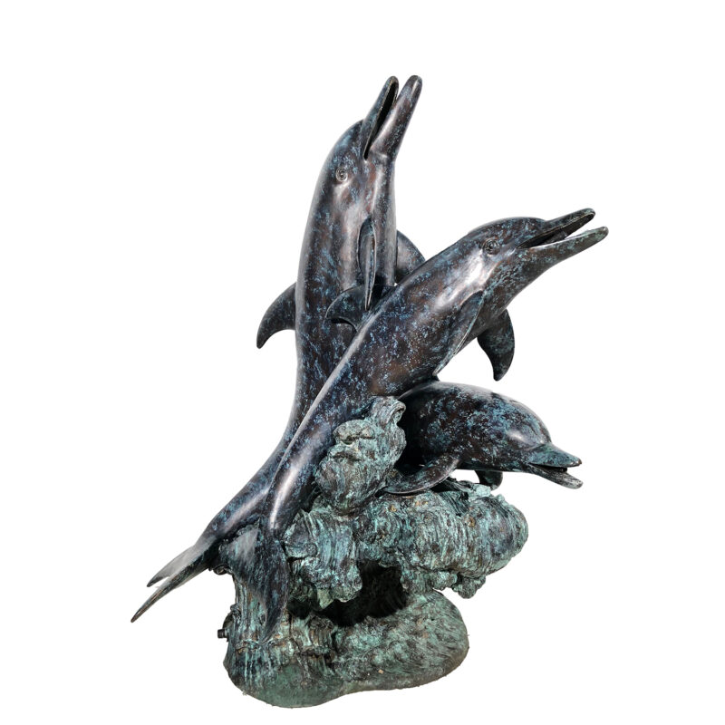 SRB25112 Bronze Dolphins Fountain Sculpture Metropolitan Galleries Inc.