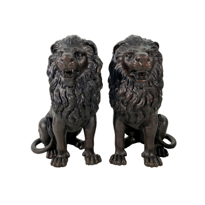 SRB25124 Bronze Snarling Lions Sculpture Set exclusive by Metropolitan Galleries Inc
