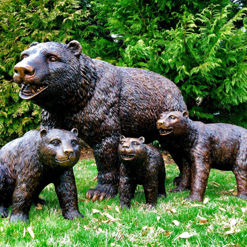 SRB25126-9 Bronze Bear Family Sculpture Set by Metropolitan Galleries Inc