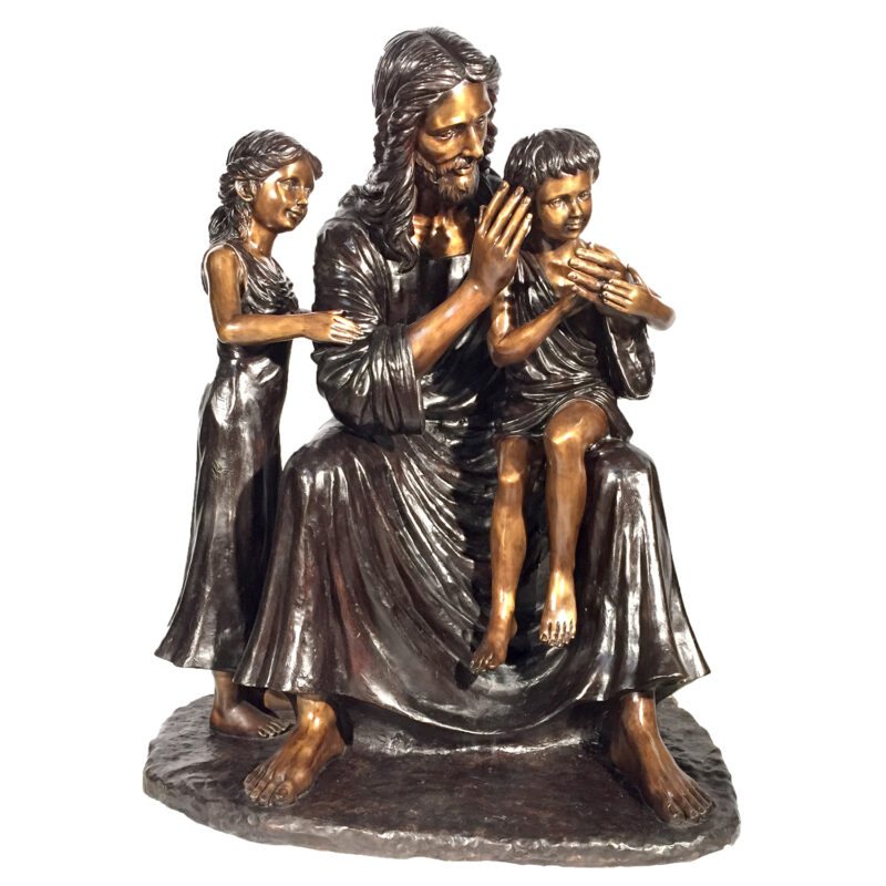 SRB25135 Bronze Jesus with Children Sculpture Metropolitan Galleries Inc.