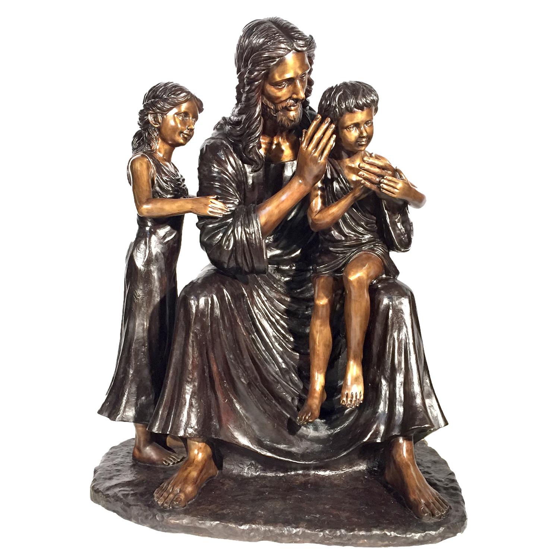 cast bronze jesus with children statue metropolitan galleries inc