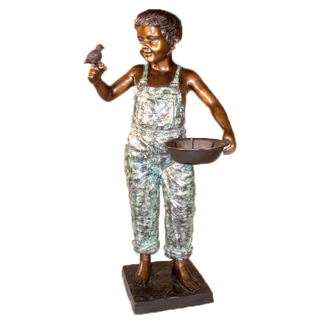 SRB25140 Bronze Boy with Birdbath Fountain Sculpture Metropolitan Galleries Inc.