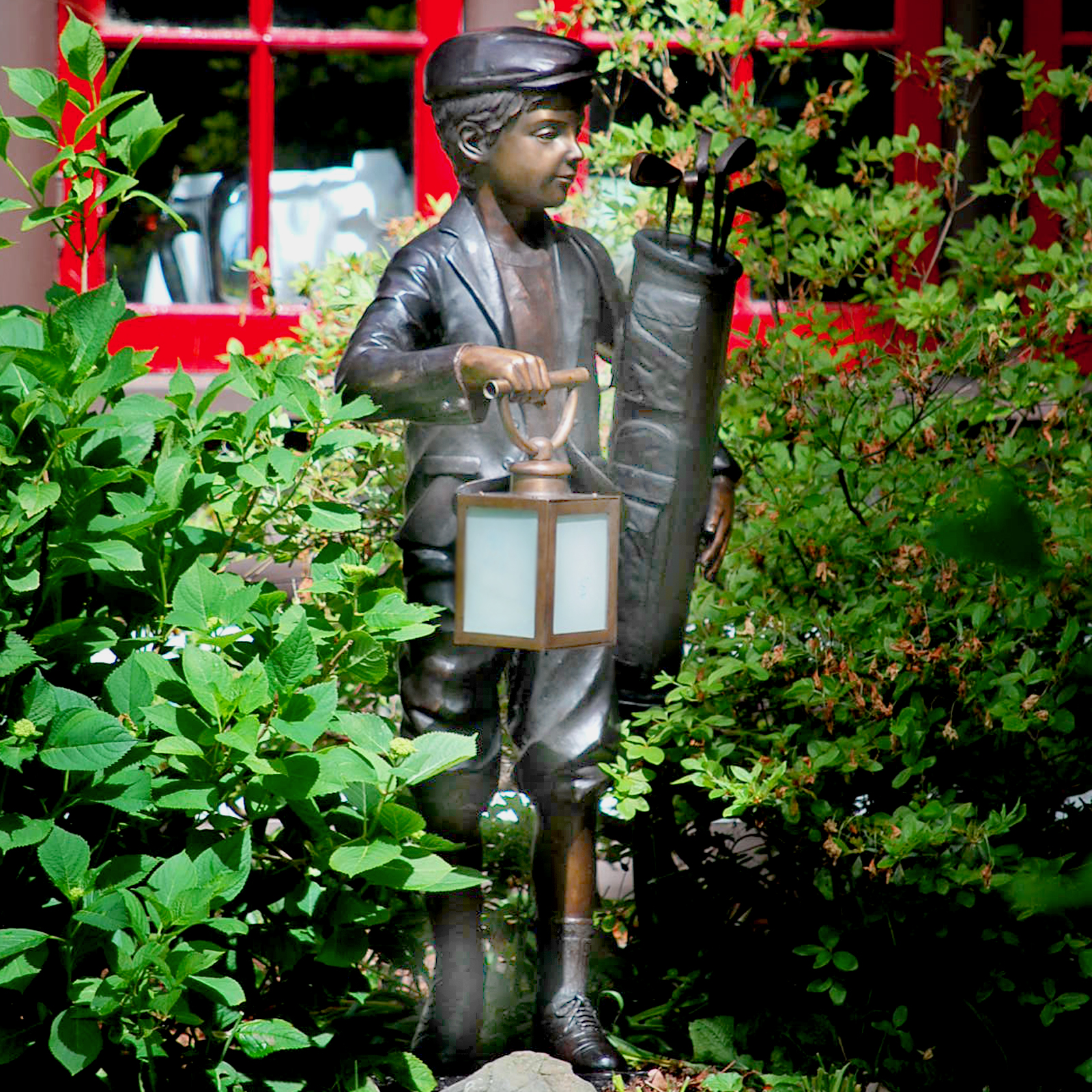 Cast Bronze Golfer Caddy Lantern Sculpture by Metropolitan Galleries. We have a wide range of cast bronze statues, bronze fountains, and bronze statuary in
