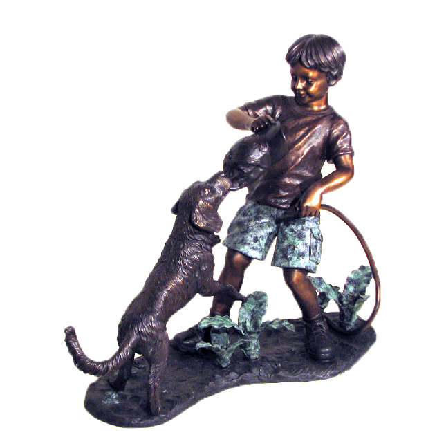 Bronze Boy & Dog Tug-a-War Sculpture Metropolitan Galleries Inc.
