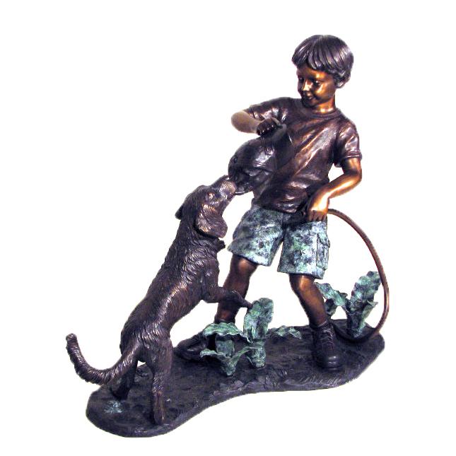 Bronze Boy & Dog Tug-a-War Sculpture Metropolitan Galleries Inc.