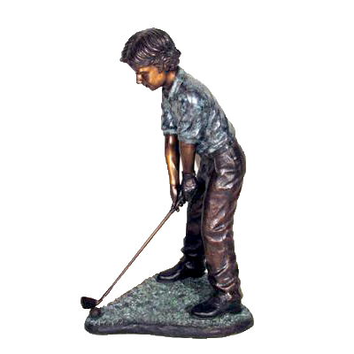 SRB25424 Bronze Boy Golfer Sculpture Metropolitan Galleries Inc.