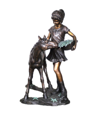 SRB25431 Bronze Girl with Pony Sculpture Metropolitan Galleries INc.