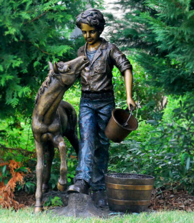 Cast Bronze Boy with Pony Fountain Sculpture Metropolitan Galleries Inc Bronze Statuary and Fountains