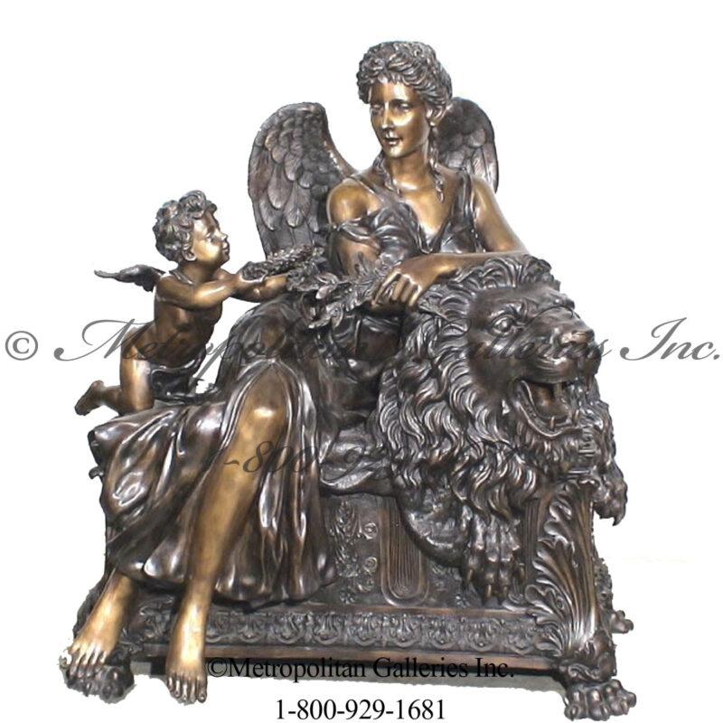 SRB25446 Bronze Angel & Cherubs on Lion Sculpture Metropolitan Galleries Inc.