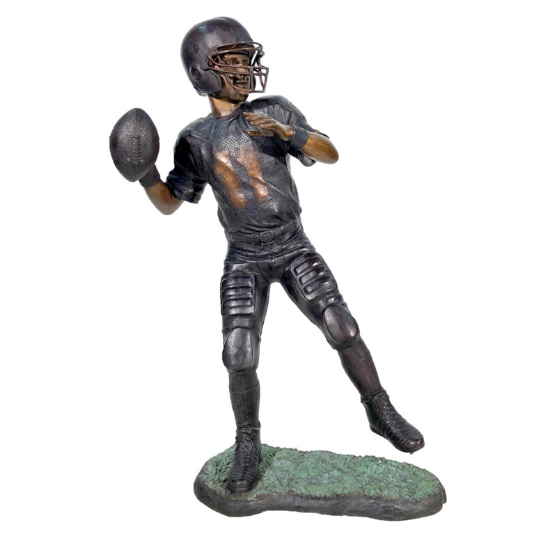 SRB25449 Bronze Boy Football Player Sculpture Metropolitan Galleries Inc.