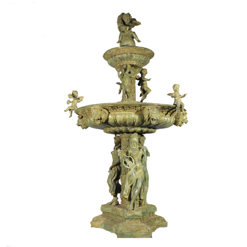 SRB30485 Bronze Lady Musician & Lions Tier Fountain Metropolitan Galleries Inc.