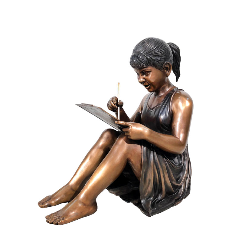 SRB41039 Bronze Girl Drawing Sculpture Metropolitan Galleries Inc.