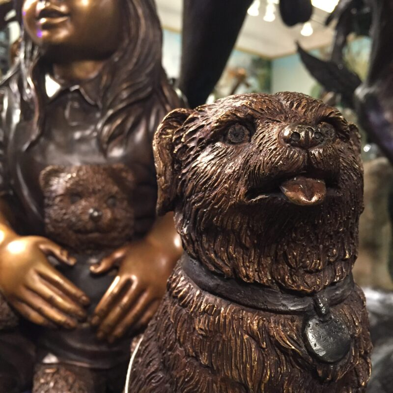 Metropolitan Galleries SRB41068 Children and Dog on Log Cast Bronze Statue