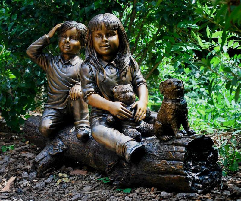 Bronze Kids and Dog on Log Sculpture Metropolitan Galleries