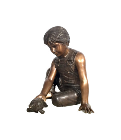 SRB41074 Bronze Boy holding Turtle Fountain Sculpture Metropolitan Galleries Inc.