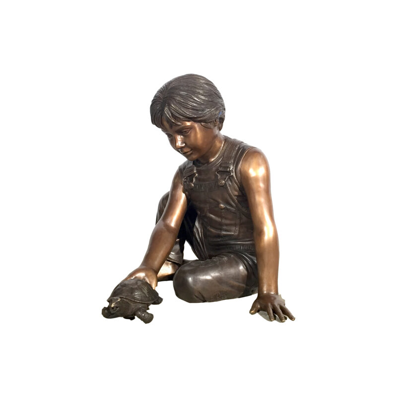 SRB41074 Bronze Boy holding Turtle Fountain Sculpture Metropolitan Galleries Inc.