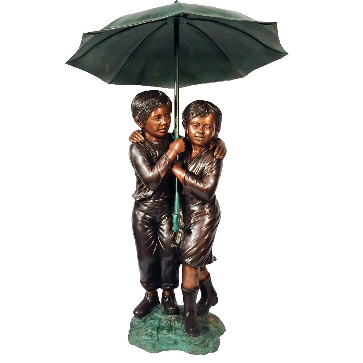 Bronze Children Holding Umbrella Fountain Metropolitan