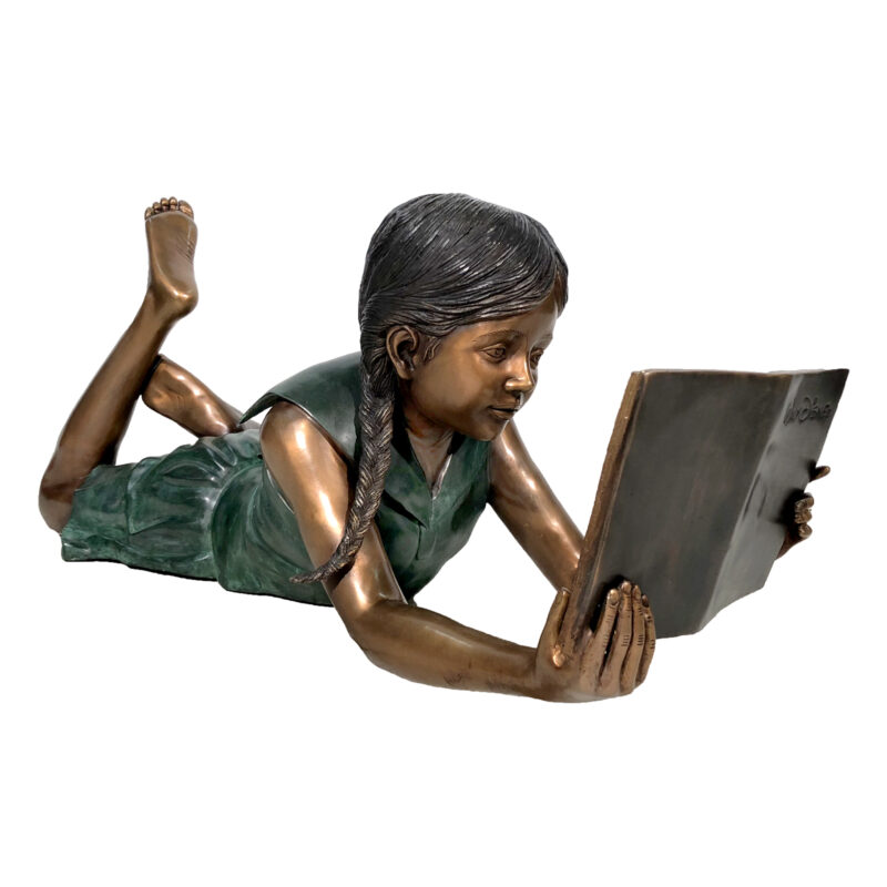 SRB42753 Bronze Girl Lying Reading Book Sculpture by Metropolitan Galleries Inc