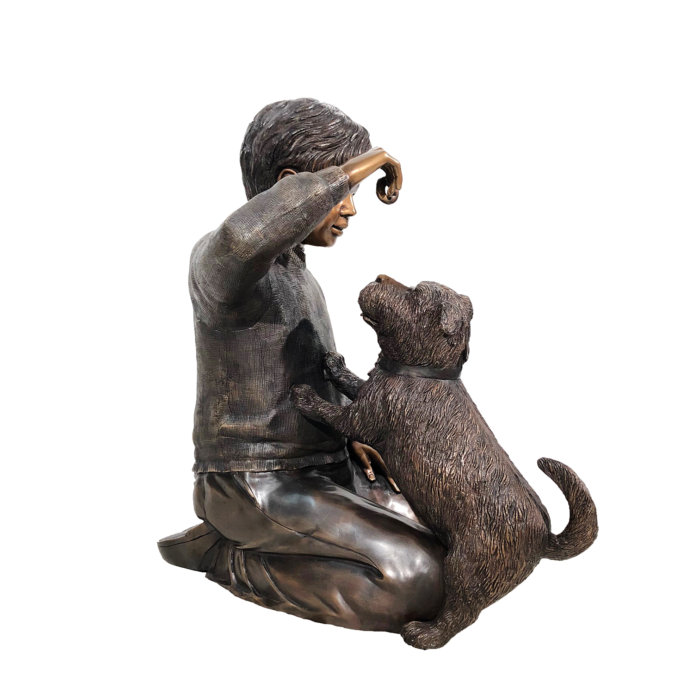 Bronze Boy Sitting With Dog Sculpture Metropolitan