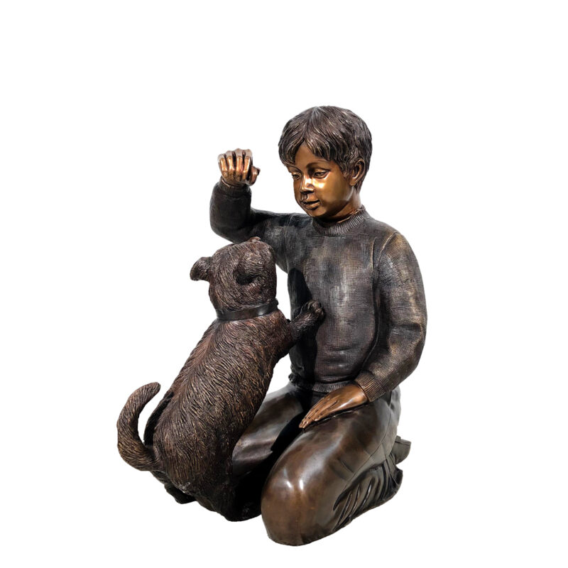 SRB42772 Bronze Boy sitting with Dog Sculpture Metropolitan Galleries Inc.