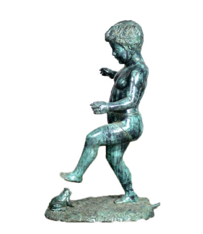 SRB43842 Bronze Boy with Frog Sculpture Metropolitan Galleries Inc.