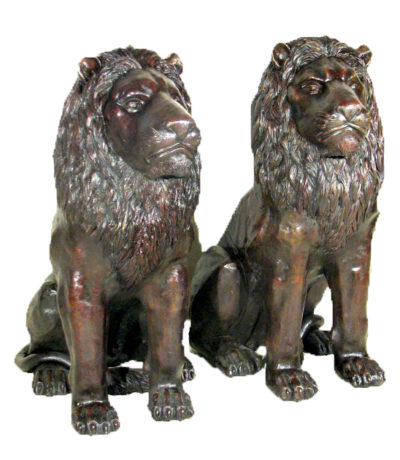 Cast Bronze Sitting Lion Sculpture Pair