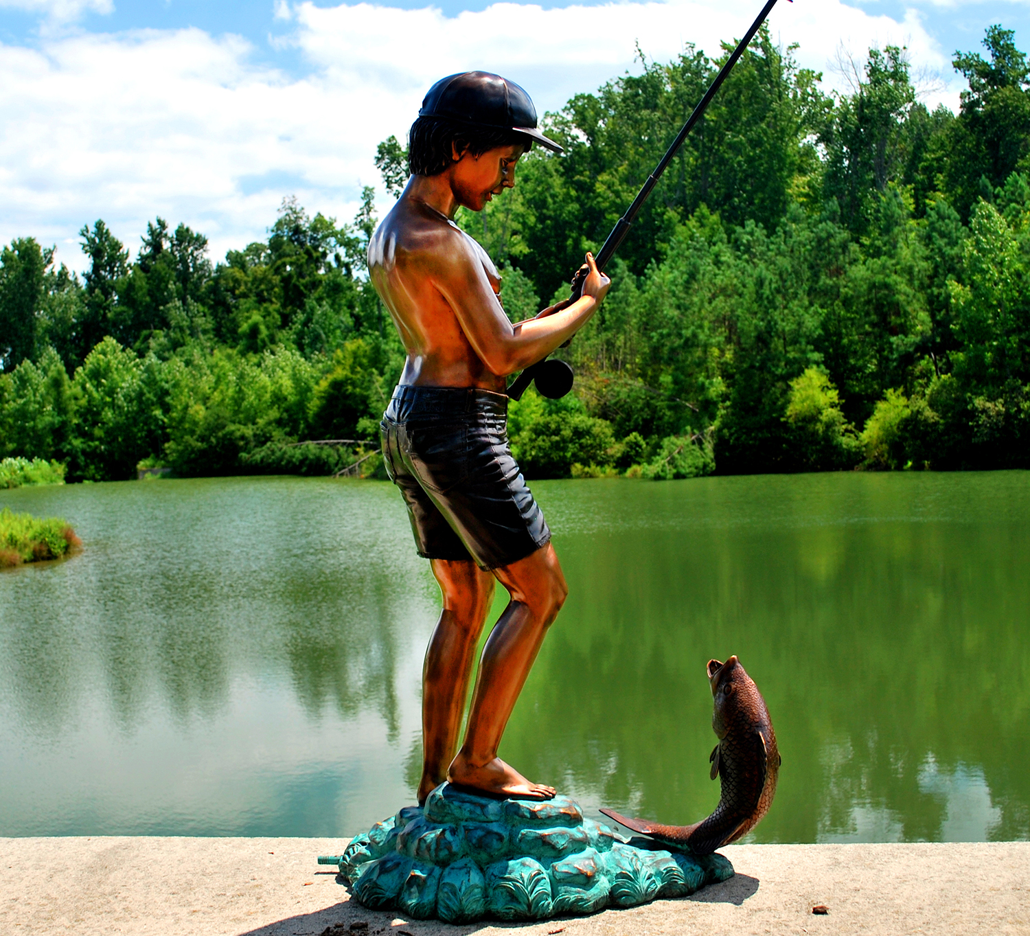Bronze Boy Fishing Fountain Sculpture Metropolitan