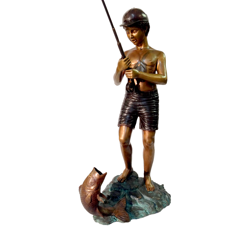 Cast Bronze Boy Fishing Fountain Sculpture Metropolitan