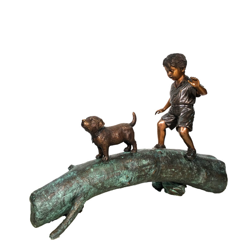 SRB45566 Bronze Boy & Dog on Log Sculpture Metropolitan Galleries Inc.
