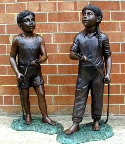 SRB45786-96 Bronze Boy & Girl Water Hose Fountain Metropolitan Galleries Inc.