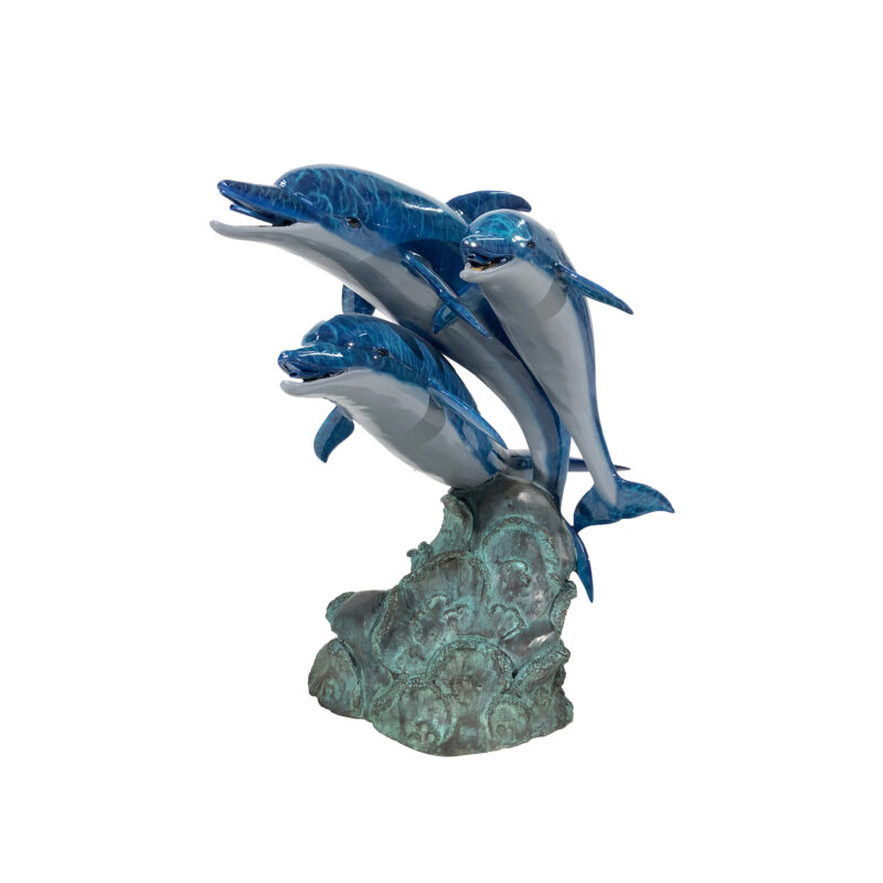 SRB45867C Bronze Colorful Dolphin Trio Fountain Sculpture by Metropolitan Galleries Inc