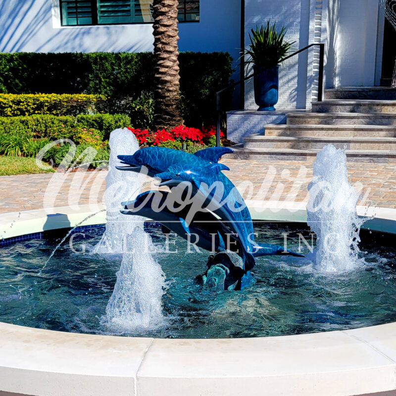 SRB45867C Bronze Colorful Dolphin Trio Fountain Sculpture by Metropolitan Galleries Inc Vignette Florida