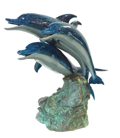 SRB45867C Bronze Colorful Dolphins Fountain Sculpture Metropolitan Galleries Inc.