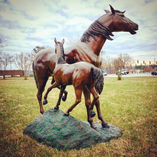 Horse with Colt Bronze Statue Metropolitan Galleries Inc.