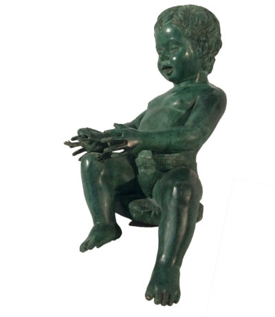 Bronze Boy holding Frog Sculpture Metropolitan Galleries Inc.