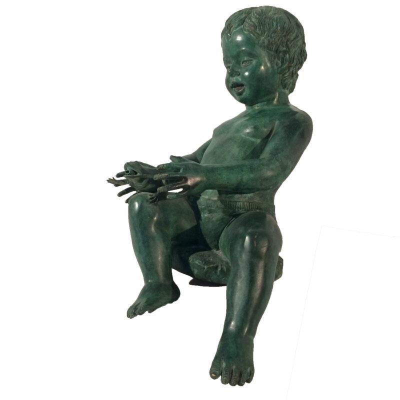 Bronze Boy holding Frog Sculpture Metropolitan Galleries Inc.