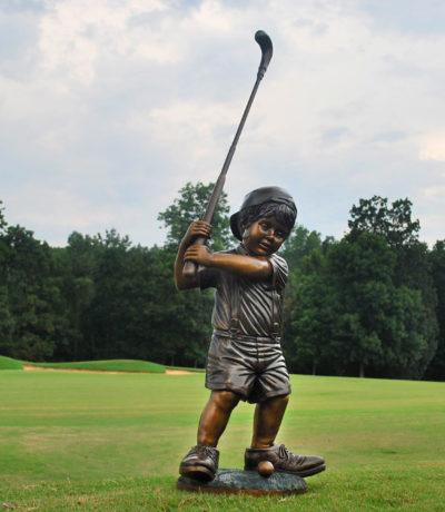 Cast Bronze Little Boy Golfer Sculpture Metropolitan Galleries Inc High Point North Carolina Bronze Statuary and Fountains