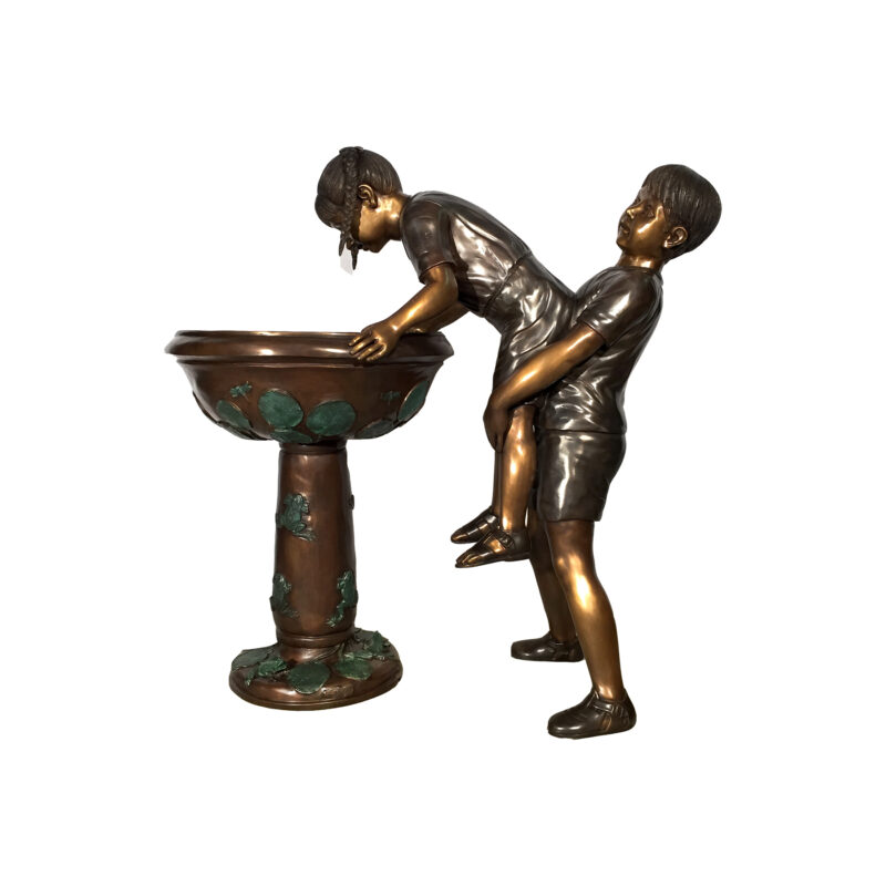 SRB47174 Bronze Two Children at Water Fountain Sculpture by Metropolitan Galleries Inc
